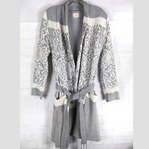 Lemon Thick Lined Robe Knit Ikat Fairisle S/M Gray